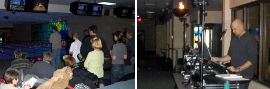 Photos of cosmic bowling and music DJ